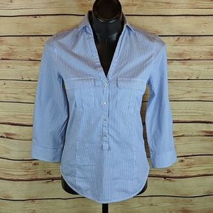Zara Fitted Pull Over  Shirt Sz M, 3/4 Sleeve